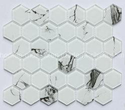 Suministro de la fábrica de vidrio blanco de Carrara hexagonal baldosa mosaico de la pared