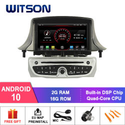 Witson Quad-Core Android 10 Alquiler de DVD GPS para vehículos Renault MÉGANE III/Fluence (2009-2011) Sistema de navegación multimedia del vehículo