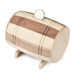 Forma de barril de madera Hucha ahorrar dinero Caja de monedas