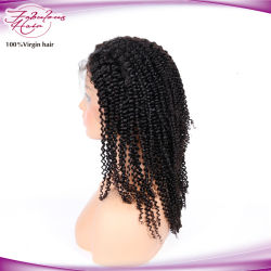 Kinky Afro Jerry Curly Frente Full Lace Cabelo Peruca