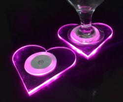 Индивидуальные одноразовые освещения Shapeled акрилового сердце напиток Coaster