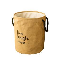 Logotipo personalizado gran durabilidad ecológica plegable Cordón de yute Bolsas de almacenamiento paño sucio canasto de lavandería con asa