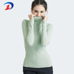 La mujer de manga larga básica Turtleneck Cómoda camiseta