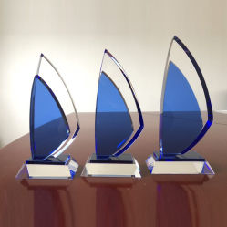 2020 Nuevo Azul Vela Trofeo de cristal