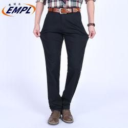 Muelle de estilo casual de negocios delgada de gran tamaño de los hombres de algodón puro del tramo alto de la cintura pantalones tubo recto medio