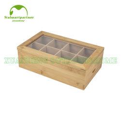 明確なガラスふたが付いている自然なタケ木8セクション茶ボックス