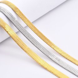 Gioielli in acciaio inox 14K 18K con spina regolabile placcata oro Collana con catena a serpente piatta con bracciale per la caviglia