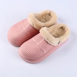 防水冬の綿プラシ天のスリッパのメスのホーム暖かい女性の滑り止めのエヴァの2020の靴