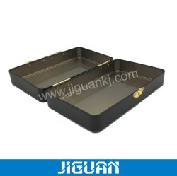Zwart matglas opbergdoos voor ijzer met suitcase-vorm