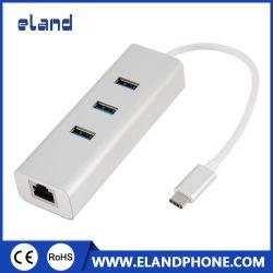 Elandphone USB C 3.1 من النوع C إلى منفذ LAN RJ45 1000 متر شبكة Gigabit Ethernet LAN+3*USB3.0 Hub
