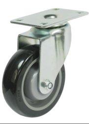 Gire a roda do caster PU preto o rolamento de esferas com Freio do Rodízio com haste roscada da roda do carrinho