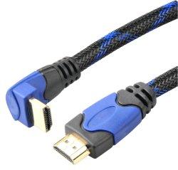 90程度HDMIケーブル(ナイロンネット、PVCの平らな任意選択との二重カラー)