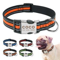 Nylon halsband gepersonaliseerde Pet kraag gegraveerd ID Tag naamplaatje Reflecterend voor kleine middelgrote grote honden Pitbull Pug