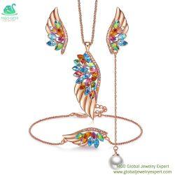 MGO Jóias Gem Global Fornecedor de asa de Ângulo Gemstone coloridos embelezada com Colar de cristal bracelete e brinco jóias de preço de fábrica