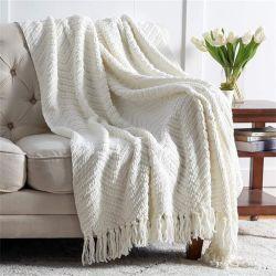قطعة كبيرة من Knit Luxury رمي بطانية مخصصة الحجم الكابل الكبير محبوك قطعة من قطع الكتنت الناعمة من البوليستر شينيل بيبي بلانكتشونكي Knit Luxury thro