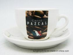 Mok van de Koffie van de Koppen en van de Schotels van het Porselein van het Embleem van de douane de In het groot