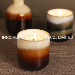 Cerámica artesanal velas aromáticas degradado de color logotipo personalizado para el Hotel &Dormitorio