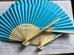 Bambú abanicos de papel en blanco con la nervadura Serigrafía