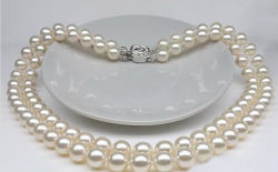 Wedding GiftのためのFahion Jewelry Akoya Pearl Necklace Double Strand 10-11mm