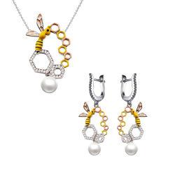 925 серебристые эмали Bee Earring цепочка моды набор ювелирных изделий с жемчугом