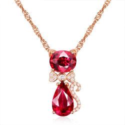 Милая очаровательная красного кристалла Cat кулоны ожерелья моды элегантные женские свадебное украшения изысканной леди CZ под ключицей цепь