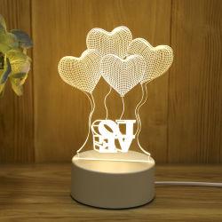 3D'Illusion LED feux de nuit, l'amour Vous lampe de bureau, lampe de cadeaux, 3D visuelles à LED feux de nuit