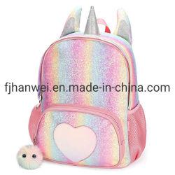 Chinesisches Fabrik-heißes Verkaufs-Form-populäre Mädchen-glänzendes Einhorn Belüftung-doppelter Schulter-Schule-Beutel