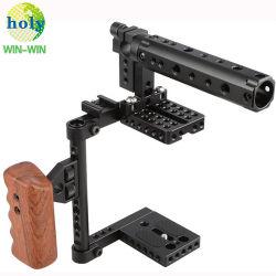 7075/6061 Melhor Qualidade de peças de Usinagem anodizado gaiola de câmaras DSLR OEM para lidar com pega de madeira para a Canon Nikon Sony Panasonnic