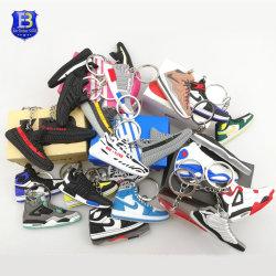 Venda por grosso 2D 3D PVC Borracha Jordânia tênis de basquete de mídias físicas chaveiro