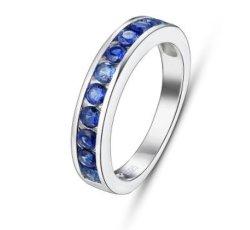 Saphir bleu Bijoux en argent réel pour les femmes de l'Engagement de mariage classique de style Créé les anneaux de saphir de qualité supérieure Mode bijoux cadeau