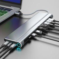 2つのHDMI、表示ポートおよびVGA、2 USBが付いている二重モニタのラップトップのドッキング端末3.0、SD/TFの音声、ギガビットのイーサネット、USB Cの女性