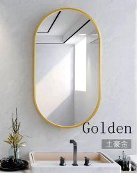 مرآة الحمام المصنوعة من الزجاج البيضاوي المصنوع من الألومنيوم المؤطر على الحائط باللون الأبيض