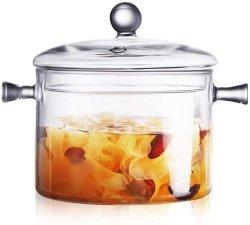 Une surface de cuisson en verre Heat-Resistant Pot et Pan avec couvercle, le meilleur jeu de verre artisanal Ustensiles de cuisine sans danger pour la table de cuisson des pâtes, de la soupe de nouilles, le lait, aliments pour bébé