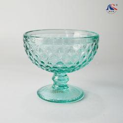 Diseño de diamantes de color verde popular taza de té a granel el tazón de vidrio de helados de agua potable