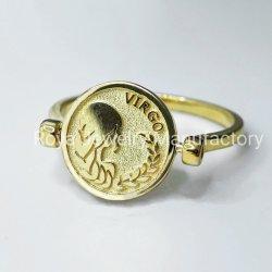 O/D Rotativos Zodiac Ring 18K banhado a ouro 925 Sterling Silver Jóias do Anel