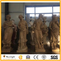 Dekorativer im Freiengarten vier Jahreszeit-Statuen mit Gelb/Brown-Sandstein-Stein-Marmor