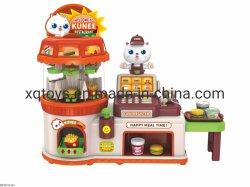 Los niños el juego de aparentar establecer Tienda de comida rápida con una caja registradora