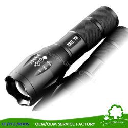 Flash de lumière LED lampe de poche avec lampe torche à LED de batterie, l'aluminium Lampe torche à LED