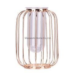 Dekorativer Mittelstück-kleiner Rahmen-Glasblumen-Vasen mit Rosen-Goldmetallzahnstange