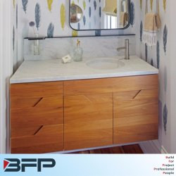 Bassin unique de la vanité Woodgrain horizontal pour la petite salle de douche