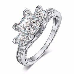 Juwelen 925 van de manier de Echte Zilveren Ring van het Zirkoon voor de Bruids/Levering voor doorverkoop van het Huwelijk/van de Overeenkomst