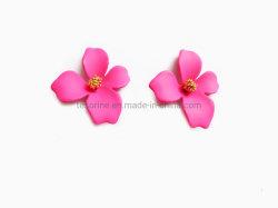 Venda por grosso de Design de Moda Rose Post prisioneiro de Flores flor rosa fúcsia brincos brincos de pernos de pintura