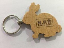 Factory Promotional Souvenir Custom Rabbit Shape Blank Wooden Key Chain