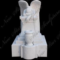 Резьба из камня белого мрамора монумент Ангела Tombstone точильного камня