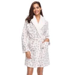 Женщин теплой зимой сожженные флис кимоно Sleepwear банный халат