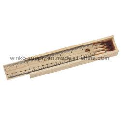 12 Reeksen van het Kleurpotlood van pakken de Natuurlijke Houten met de Schaal Woodcase van de Druk