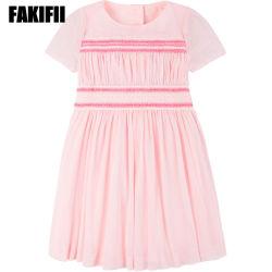 Nuevo diseño de moda al por mayor desgaste de los Niños Los niños vestidos verano vestido Smocked Malla Rosa niña Ropa de niño
