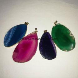 半宝石の自然な水晶瑪瑙はペンダントをスライスする