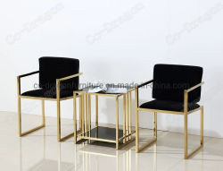 Schwarzer ausgeglichenes Glas-Tisch-Oberseite-Goldbein-Enden-Seiten-Tisch