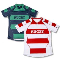 Polo Rugby personalizzata sublimata Stampa vuota Design Stripe Rugby Maglia